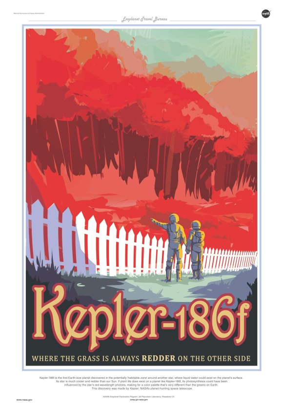 Kepler-186f is the first Earth-size planet discovered in the potentially 'habitable zone' around another star, where liquid water could exist on the planet's surface. Its star is much cooler and redder than our Sun. If plant life does exist on a planet like Kepler-186f, its photosynthesis could have been influenced by the star's red-wavelength photons, making for a color palette that's very different than the greens on Earth. This discovery was made by Kepler, NASA's planet hunting telescope.
