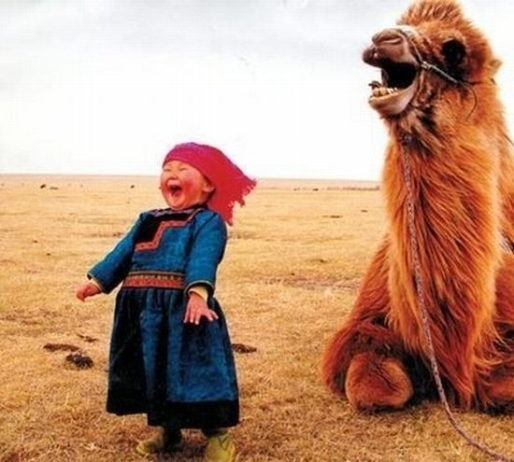 A-laughing-girl-and-her-camel