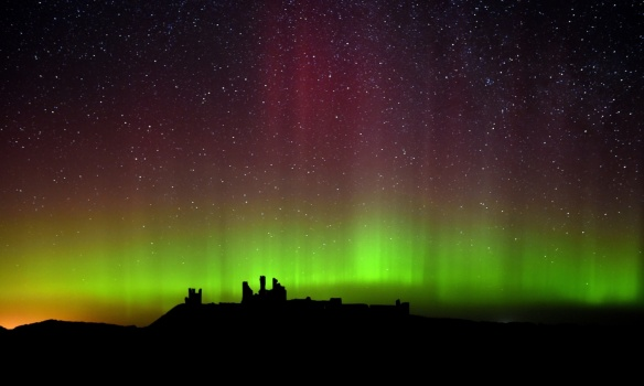Lights over Dunstanburgh Castle in Northumberland-UK- Owen Humphrey-PA