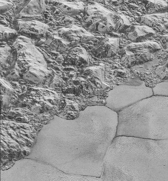 pluto mountains and shore