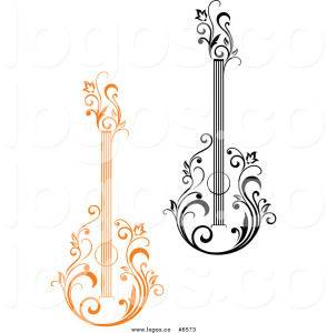 royalty-free-clip-art-vector-logos-of-black-and-orange-floral-acoustic-guitars-by-seamartini-graphics-6573