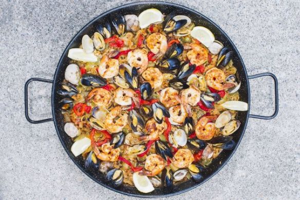 One Pan Grilled Seafood & Vegetable Paella